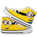 Children Canvas Shoes 2015 Autumn Hand Painted Boys Girls Canvas Sport Shoes Despicable Me Minions Casual Kid Sneakers Size23~35
