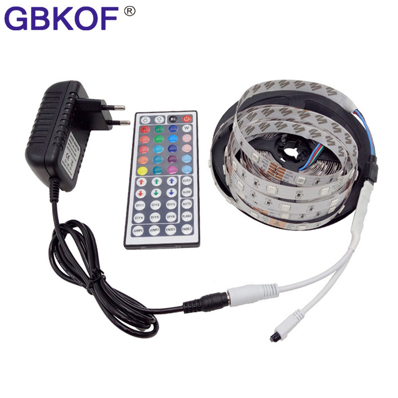 GBKOF 10 M RGB HA CONDOTTO La Striscia 5 M 5050 SMD LED Nastro di Luce Nastro flessibile Impermeabile di IR Remote Controller DC 12 V Adattatore di Alimentazione Completa set