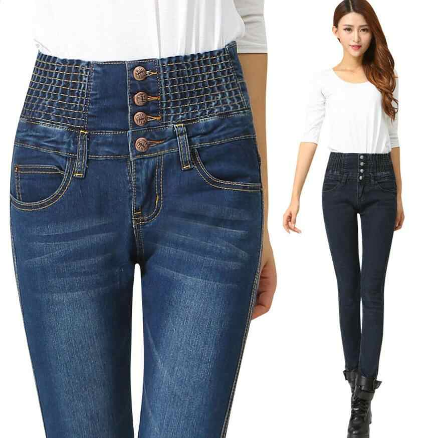 Row Button Jeans For Womens High Waist Elastic Skinny Denim Long Pencil Pants Woman Jeans Camisa Feminina Lady Fat Trousers