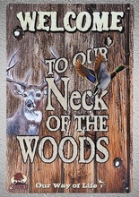 1 pc welcome hunting hunter woods jungle deer Tin Plate Sign wall plaques man cave Decoration Art Dropshipping Poster metal