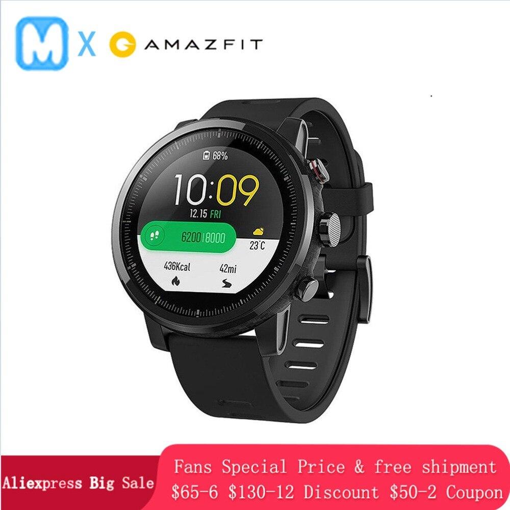 $ Cupom 5 Navio Huami Amazônia 2 Amazônia Stratos smartwatch GPS Relógio Inteligente Homens Relógios Monitor de Freqüência Cardíaca 5ATM PPG à prova d' água
