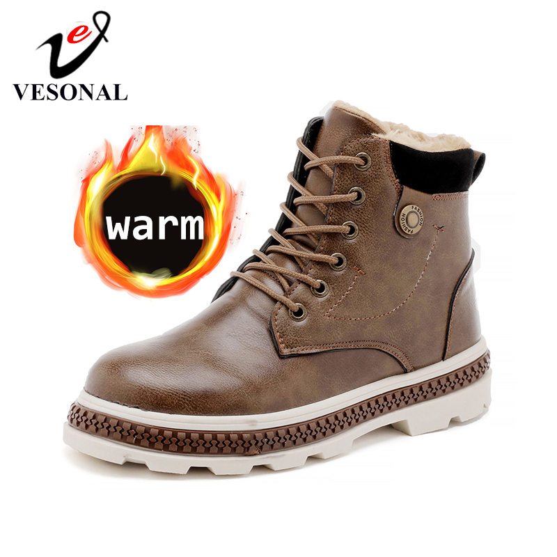 VESONAL Men Boots Shoes Classic Ankle-Snow Motorcycle Vintage Warm Male Winter Plush