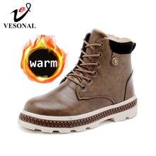 VESONAL/сезон осень-зима; Новинка; кожаные зимние мужские ботинки; обувь в байкерском стиле с мехом и плюшем; теплые классические мужские повседневные ботинки в винтажном стиле
