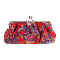 Folk custom National Style Women's Clutch Flap Bag Embroidered Flower Handbag Beading Crystal Pouch Fit Cheongsam Shoulder Bag