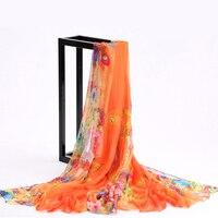 Женский шифоновый шелковый шарф в богемном стиле с цветочным принтом, шаль, обертывания, большой размер, Пляжная накидка, женский сексуальн...