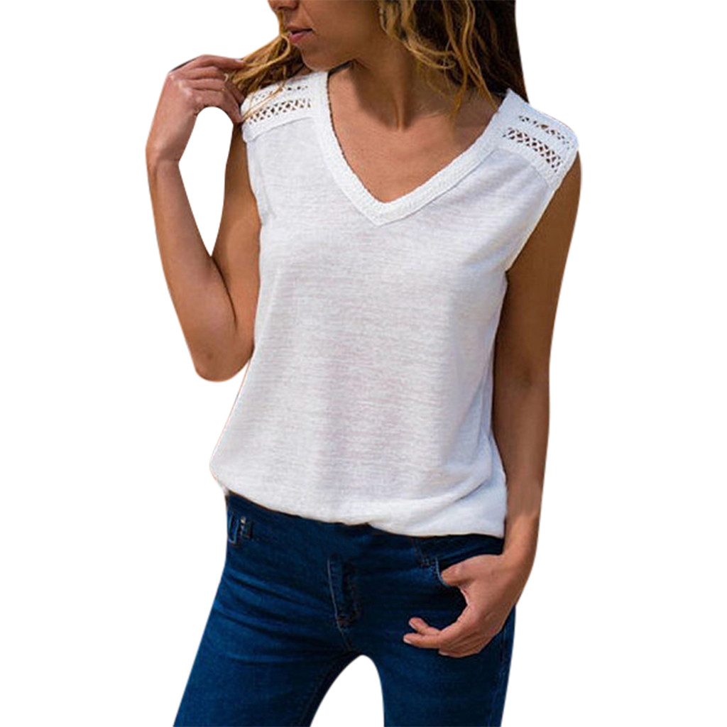 Women's Sexy Summer   Tanks     Tops   Solid White With Lace Patchwork Hollow Blouse Casual V Neck Sleeveless Caims For Ladies   Top   Cloth