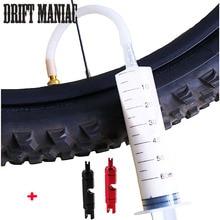 Bike tire tubeless sealant 60ml syringe rubber hose kit for inner tube mtb road bicycle tire tubeless valves core tools