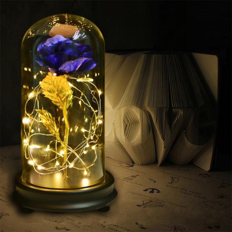 24K Gold Plating Rose Flower in a Glass Dome with LED Light String Gift Women Girls on Birthday Valentine's Day Mother's Day