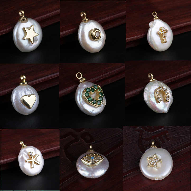 multi shape tiny gold charms coin freshwater pearl bead pendant charm for personalized jewelry making wedding birthday jewels