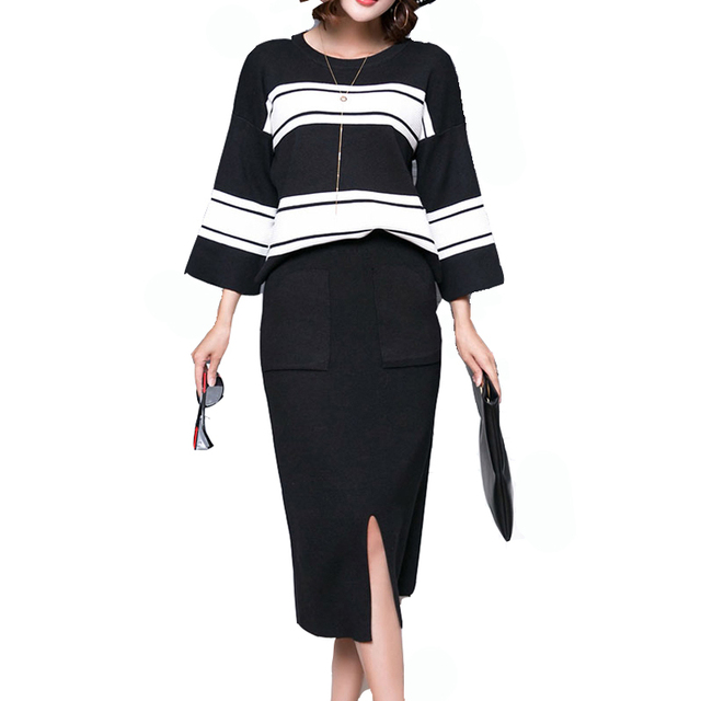 7f4ac7f0084d5 2018 Plus Size 2 Pieces Sets Knitted Sweater Skirt Suit Elastic Waist Skirts    Striped Pullover