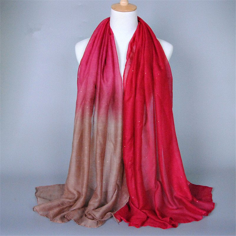 Plain ombre glitter printed shade multicolor shimmer long shawls head pashmina muslim hijab stoles winter women   wrap     scarves