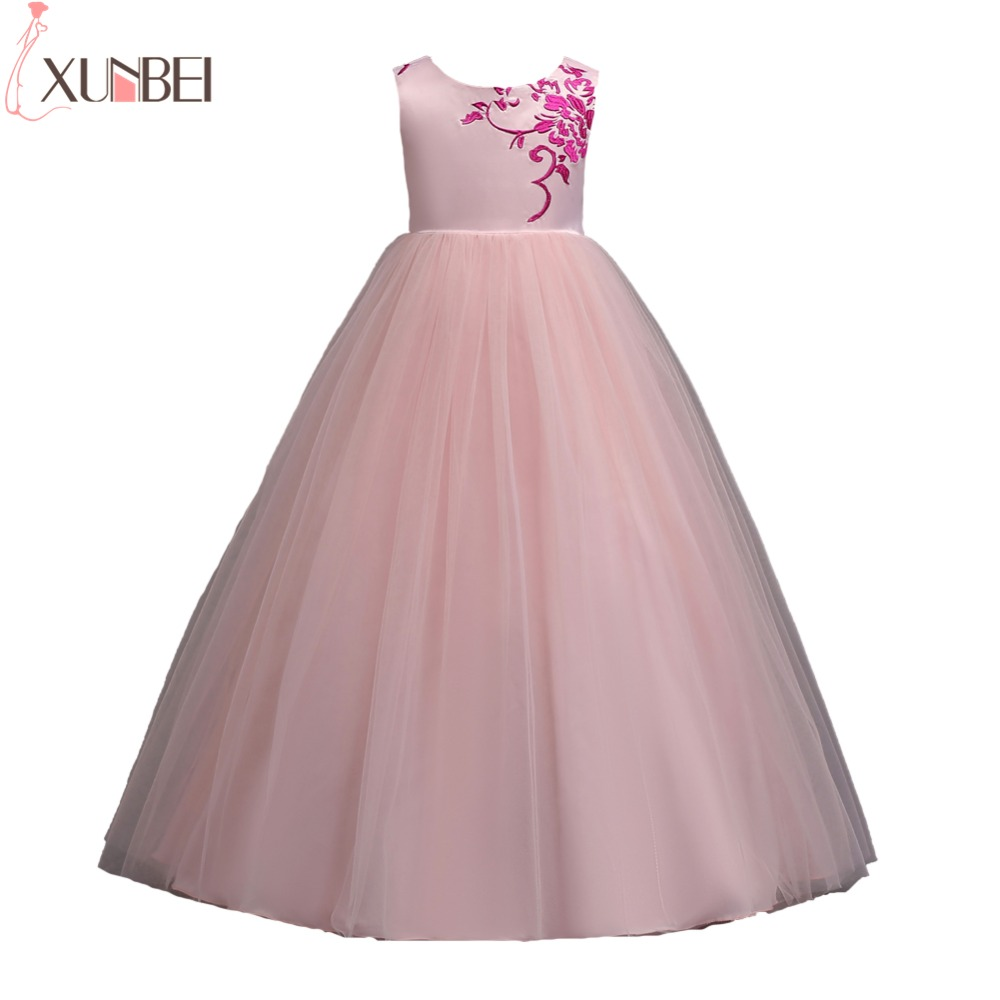 New Arrival Princess Appliqued Flower Girl Dresses 2019 Puffy Tulle Girls Pageant Dresses First Communion Dresses Party Gown