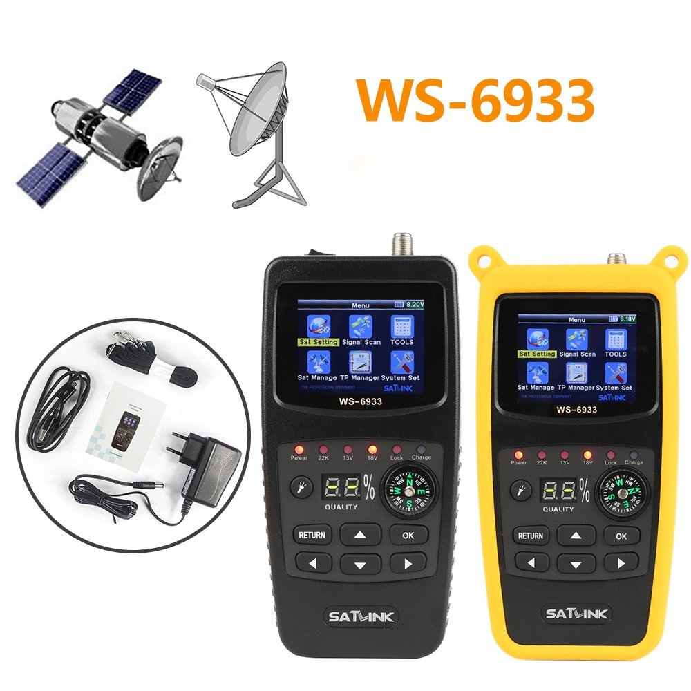 Newest Digital Sat Finder Satellite Antenna Signal Meter for Sat Dish WS-6906 DVB-S FTA Signal Finder Satellite TV Receiver Tool with 3.5inch LCD Screen Display