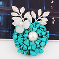 Fashion Jewelry Handmade Natural Stone Scarf Brooches and Pins Large Brooch for Women Christmas Gift