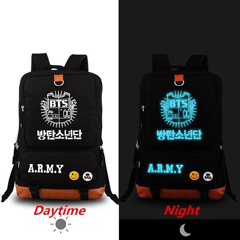 2018 New Rap BTS Bangtan Boys Luminous Backpack Mochila Feminina Fashion Canvas Rucksack laptop Bags School Bag Backpacks casual mini backpack large capacity shoulder bag unisex canvas backpack rucksack school bags satchel mochila feminina