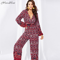 New Sexy Boho Floral Print Long Sleeve Bodysuit Red Jumpsuit Overalls Macacao Feminino Women Autumn Clothing V Neck Long Rompers