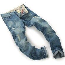 2016 новый стиль отверстие патч нищие тонкий мужские джинсы евро street style случайные штаны мужские джинсовые прямые брюки 30-38