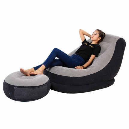 15%, conjuntos de Cadeira dobrável Chaise Lounge sofá Preguiçoso cama PVC reunindo sofá inflável cadeira ao ar livre com fezes Pé rolamento 125 kg