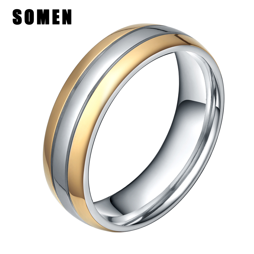 It is just a graphic of 41MM Gold /Silver Color Titanium Ring Men Engagement Rings Wedding Band Two Tone Dome Polished Women Fashion Jewelry Bijoux