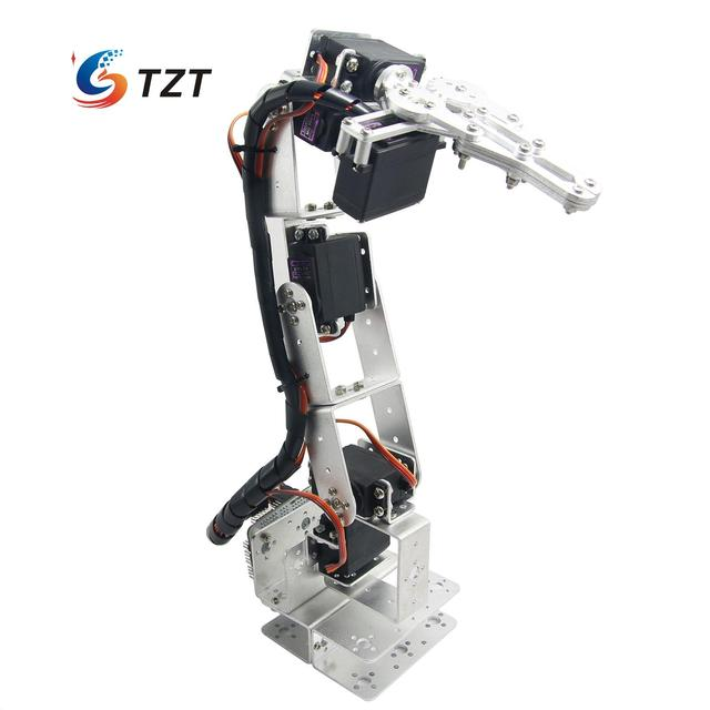 Arduino Robot 6 DOF Aluminium Clamp Claw Mount Kit Mechanical Robotic Arm & Servos & Metal Servo Horn-Silver
