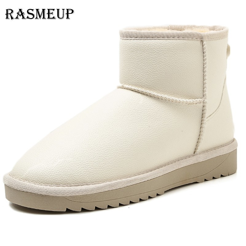 f0128af3e RASMEUP Women White Snow Boots Waterproof Winter Women's Ankle Boots 2018  Thick Warm Fur Non-slip Woman Platform Shoes Ladies | Bright Pebbles