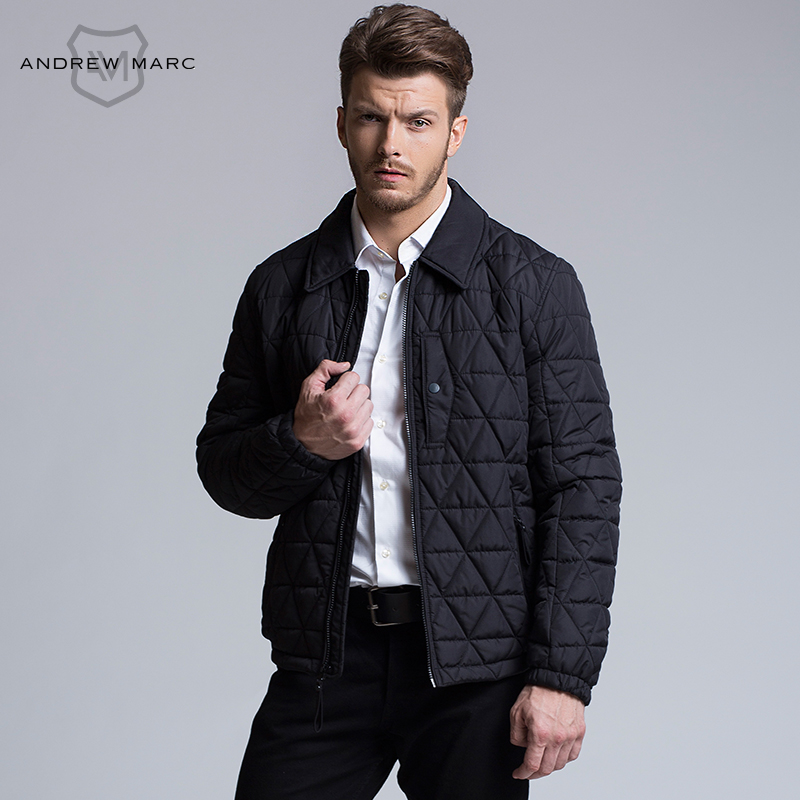 ФОТО ANDREW MARC MNY 2016 New Autumn Men's Slim Parkas Ultralight Overcoat Polyester Jacket Man Coats S-XXL TM6AC139