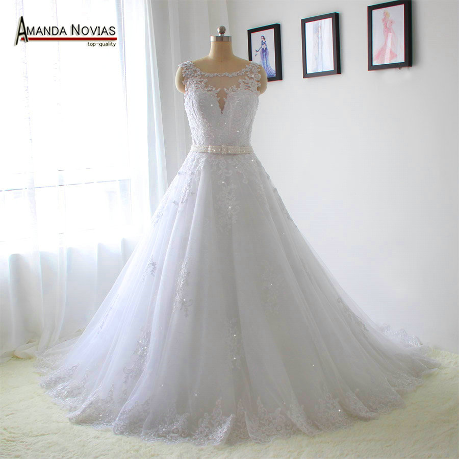 belt lace appliques wedding dresses real photos in wedding dresses