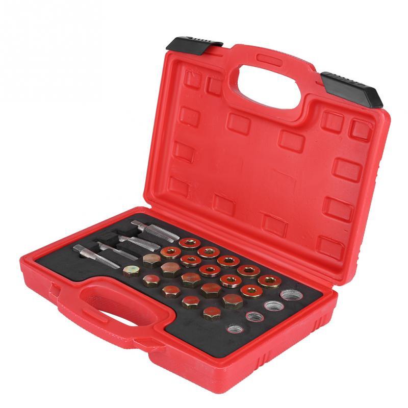 64 pièces Kit de réparation de filetage de carter d'huile ensemble d'outils de bouchon de vidange de boîte de vitesses M13 M15 M17 M20 outil de réparation automatique