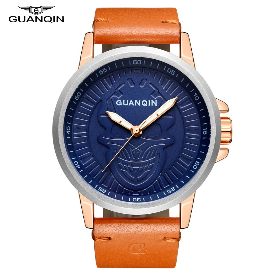 GUANQIN Skull Watch Fashion Wrist Watch Men Shockproof Waterproof Leather Quartz Wristwatch Clock Male Mens Watches Gift Box цепочка