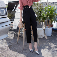 Summer Spring New High Waist Harem Pants Capris Fashion Office Lady Trousers For Women Classical With Belt Female Pants