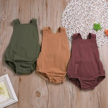 Newborn Baby Simple Jumpsuit Sleeveless Strap Infant baby boys girls  Casual Romper Body suit Outfits Suit