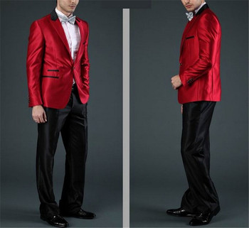 Latest Coat Pant Designs Red Formal Custom Slim Fit Fashion Wedding Suits For Men 2 Pieces Terno Masculino (Jacket+Pants)