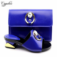Capputine New Arrival Summer Italian Slipper Shoes And Bag Set Fashion Ladies Pumps Party Shoes And Bag To Match Set For Dress