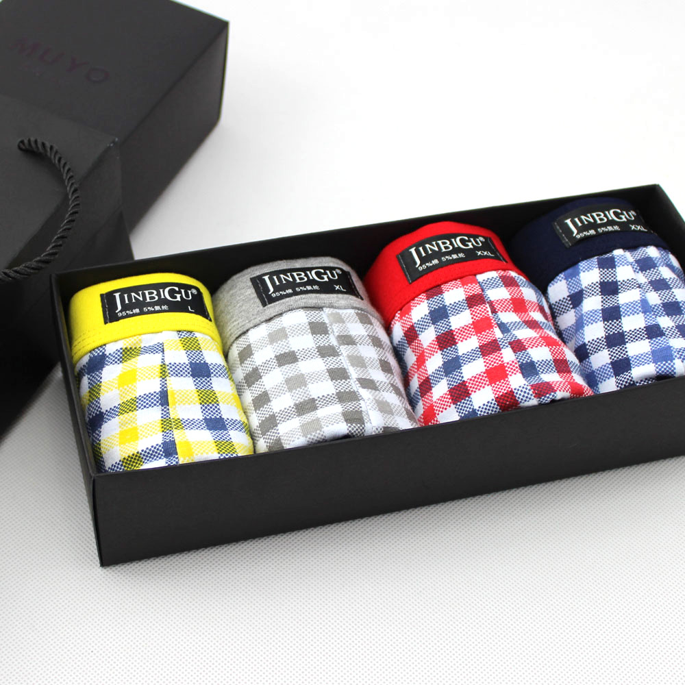 Free Shipping Men casual plaid panties mid-waist cotton boxer male panties gift box 3pcs/lot