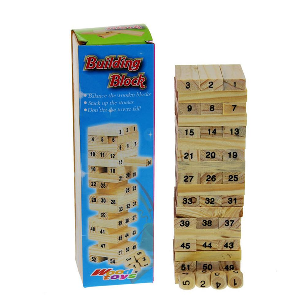 54pcs Wooden Tower Hardwood Building Blocks Toy Domino Stacker Extract Building Educational Jenga Game For Children #2