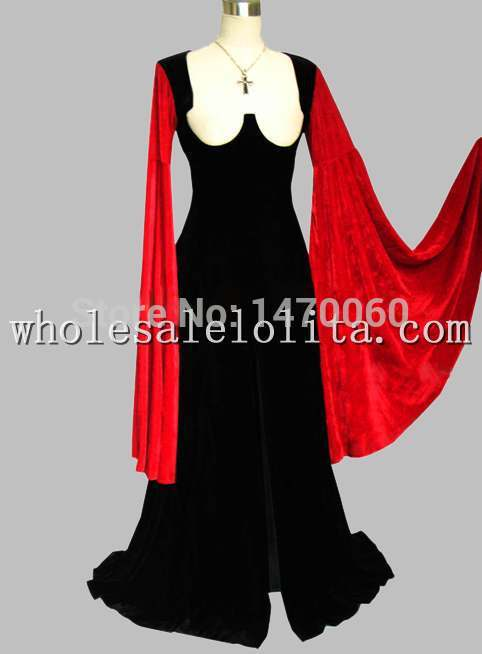 Hot Sale Gothic Black and Red Pleuche Sleeve Victorian Era Costumes