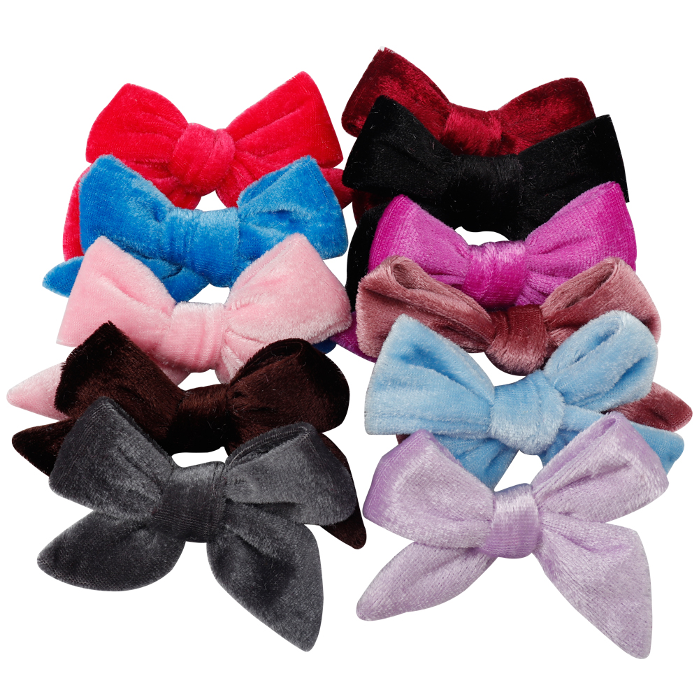 1Pc Hair Accessories Solid Velvet Hair Bows 3 5 Inch Lovely Hair Clips For Girls Kids Hairgrips Handmade Bow knot Clip Headwear in Hair Accessories from Mother Kids