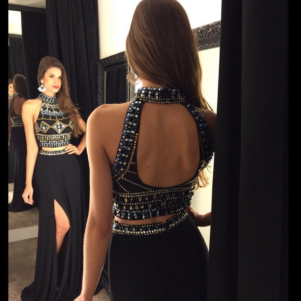 Bridesmaid-Dresses Prom-Gowns Mermaid Chiffon Formal Backless Black Long Crystal Two-Deices