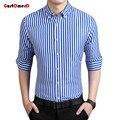 GustOmerD Новая Мода Марка Полосой Повседневная Мужчины Рубашка С Длинным Рукавом Slim Fit Рубашки Мужчины Бизнес Мужские Рубашки Платья