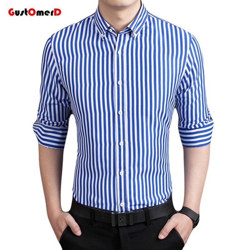 cba89a89655 GustOmerD New Fashion Brand Strip Casual Men Shirt Long Sleeve Slim ...