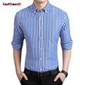 GustOmerD New Fashion Brand Strip Casual Men Shirt Long Sleeve Slim Fit Shirt Men Business Mens Dress Shirts