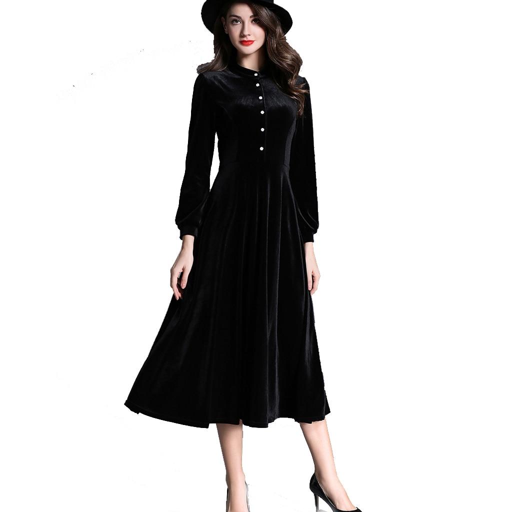 2018 hiver robes noir à manches longues minceur velours robe col montant velours côtelé robe une ligne Vintage robe Sexy Vestidos