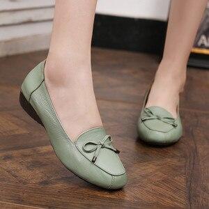 Image 5 - BEYARNE chaussures en cuir pour mères, chaussures à semelle souple, confortables, plates, grande taille 35 41 pour dames, printemps 2019