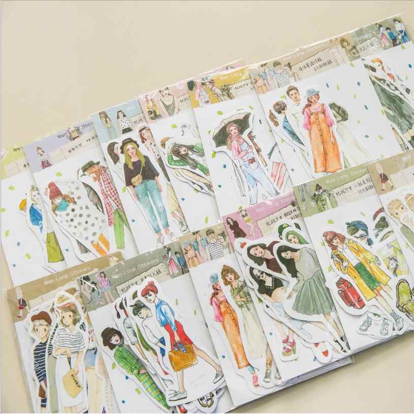 6-49 Pcs/Bag Cute cartoon Retro Fashion girl student mini paper sticker decoration DIY ablum diary scrapbooking label stickers