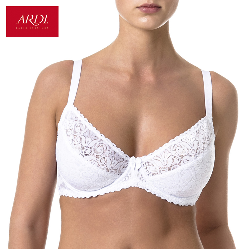 Woman's Bra Lace White Soft Cup Cotton Lining Large Size Big Breast Support 80 85 90 C D E ARDI Free Delivery N1010-12
