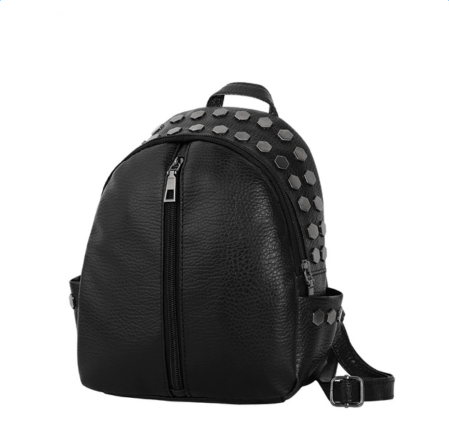 Wulekue PU preppy style sequined rivet women rucksack simple ladies small black travel bags student school backpacks simple designer small backpack women white and black travel pu leather backpacks ladies fashion female rucksack school bags