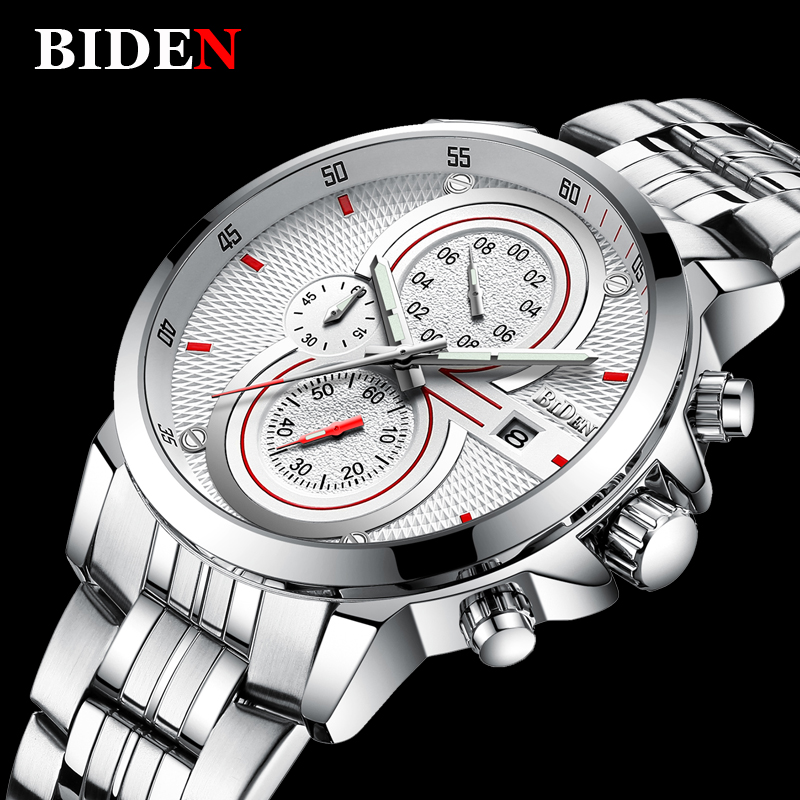 Mens Watch Luxury Brand Fashion Business Date Quartz Watch Men Sport Full Steel Waterproof Military Wristwatch Male Clock mens watch top luxury brand fashion hollow clock male casual sport wristwatch men pirate skull style quartz watch reloj homber
