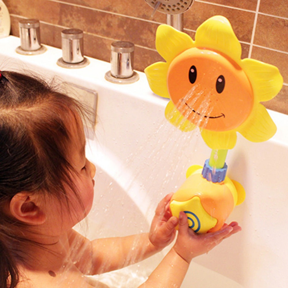 Sunflower Water Flow Spray Shower Head Baby Kids Toddler Bath Play Bathing Toys