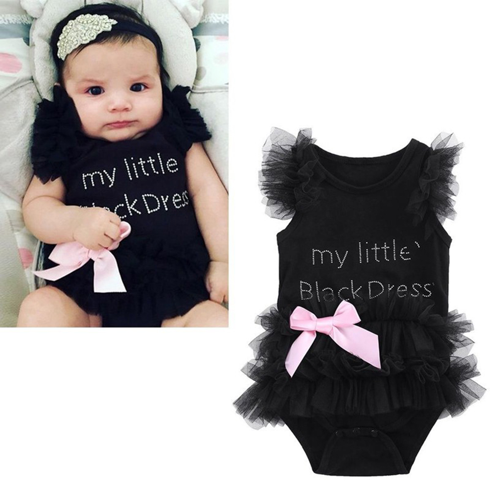 Infant Newborn Litter Black Dress Lace Jumpsuit Tutu Dress Romper Bodysuit