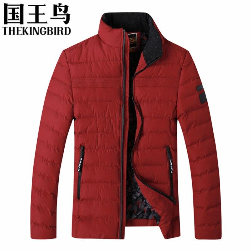 ФОТО THEKINGBIRD Man Winter Coat Thickening Jacket Cotton-Padded Jacket Men Red Black Blue Army Green Gray Jackets And Coats